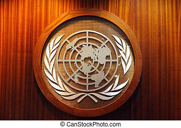 United Nations logo in UN headquarters in Manhattan New York...