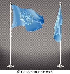 United Nations Organization flag on flagpole set isolated on...