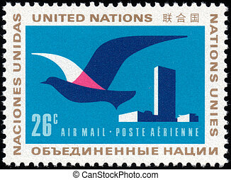 United Nations stamp - CIRCA 1974: A stamp printed in the...