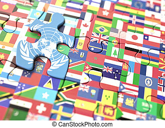 United Nations World Flags - Concept puzzle with several...
