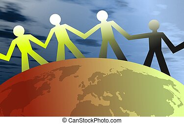 United People - People united around the globe. Concept...