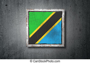 3d rendering of an old United Republic of Tanzania flag in a concrete wall