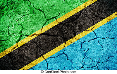 United Republic of Tanzania flag on dry earth ground texture background