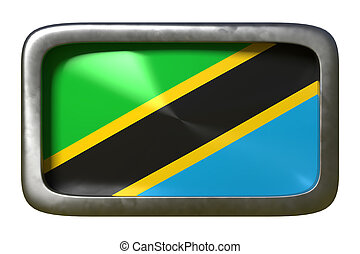 3d rendering of an United Republic of Tanzania flag on a rusty sign isolated on white background