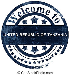 United republic of tanzania stamp on white background