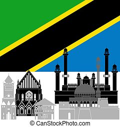 State flag and architecture of the country. Illustration on white background.