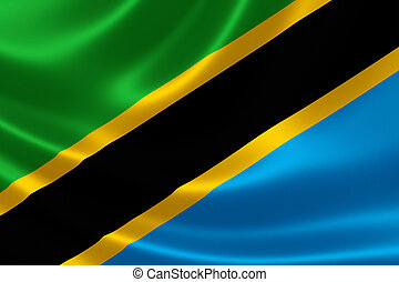 3D rendering of the flag of Tanzania on satin texture.