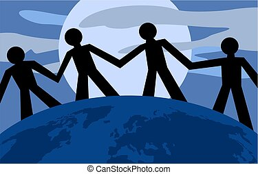 United Silhouettes - standing together