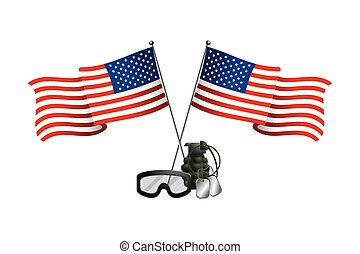 united state flag with grenade