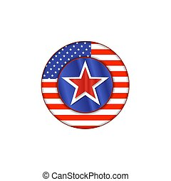 United State of America flag on button