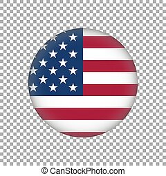 United State of America flag on button. Vector illustration