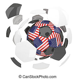 United State of America soccer ball on white background