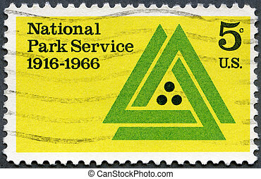 UNITED STATES - 1966: shows National Park Service Emblem,...