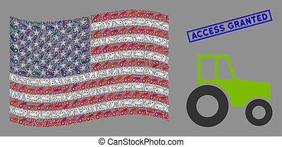 united states, adgang, lukke op, stylization, wheeled, traktor, flag, struktureret, granted