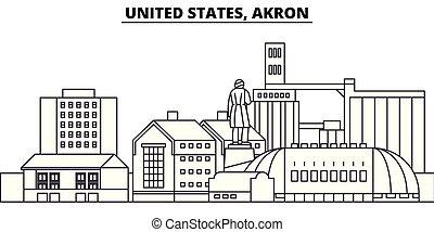 United States, Akron line skyline vector illustration. South...