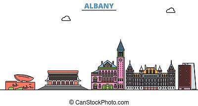 United States, Albany line cityscape, flat vector. Travel city landmark, oultine illustration, line world icons