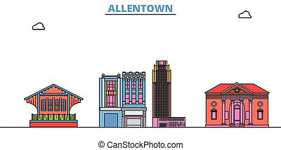 United States, Allentown line cityscape, flat vector. Travel city landmark, oultine illustration, line world icons
