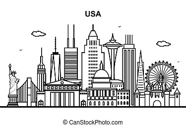 United States America City in USA Cityscape Skyline Line Illustration