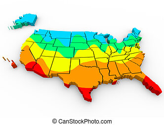 A map of the United States of America with regions color coded to illustrate average temperatures with hottest areas in red and coldest in blue