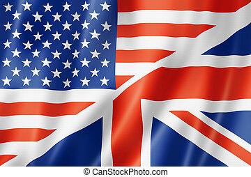 United States and British flag - USA and UK flag, three...