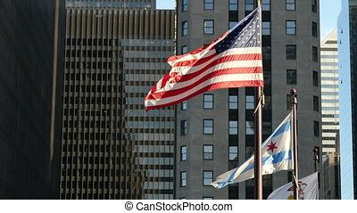 United States and Chicago Flags - Flagstaff on the Golden...