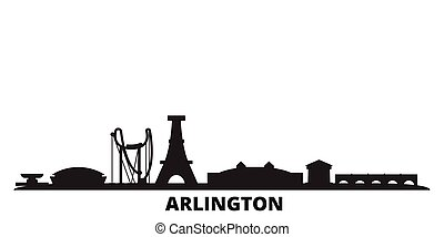 United States, Arlington city skyline isolated vector illustration. United States, Arlington travel black cityscape