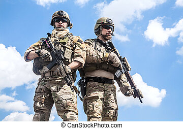 Army rangers - United States Army rangers with assault...
