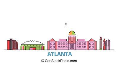United States, Atlanta line cityscape, flat vector. Travel city landmark, oultine illustration, line world icons