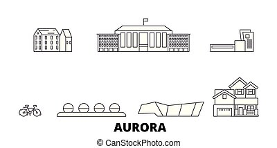 United States, Aurora line travel skyline set. United States, Aurora outline city vector illustration, symbol, travel sights, landmarks.
