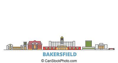 United States, Bakersfield line cityscape, flat vector. Travel city landmark, oultine illustration, line world icons