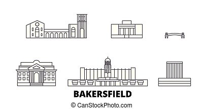 United States, Bakersfield line travel skyline set. United ...