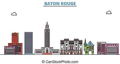 United States, Baton Rouge line cityscape, flat vector. Travel city landmark, oultine illustration, line world icons