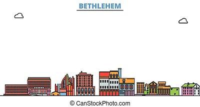 United States, Bethlehem line cityscape, flat vector. Travel city landmark, oultine illustration, line world icons