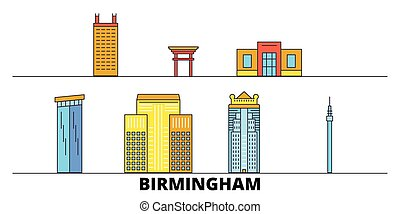 United States, Birmingham flat landmarks vector illustration. United States, Birmingham line city with famous travel sights, design skyline.