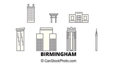 United States, Birmingham line travel skyline set. United States, Birmingham outline city vector panorama, illustration, travel sights, landmarks, streets.