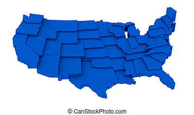 United States blue map by states - United States map by ...