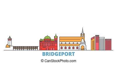 United States, Bridgeport line cityscape, flat vector. Travel city landmark, oultine illustration, line world icons