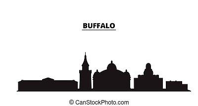 United States, Buffalo city skyline isolated vector illustration. United States, Buffalo travel black cityscape