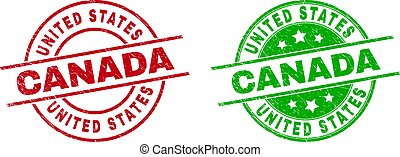 UNITED STATES CANADA Round Stamp Seals Using Corroded Style