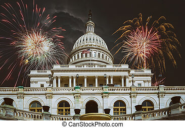 United States Capitol Building in Fireworks Washington, DC