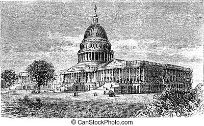 United States Capitol, in Washington, D.C., USA, vintage engraving