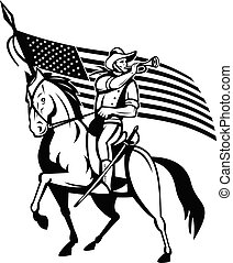 United States Cavalry on Horse Blowing Bugle With USA Flag ...