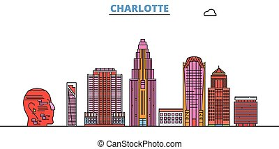 United States, Charlotte line cityscape, flat vector. Travel city landmark, oultine illustration, line world icons