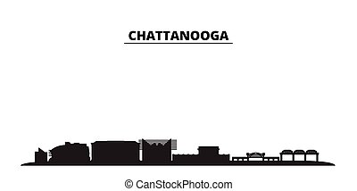 United States, Chattanooga city skyline isolated vector illustration. United States, Chattanooga travel cityscape with landmarks