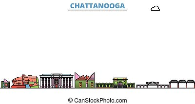 United States, Chattanooga cityscape line vector. Travel flat city landmark, oultine illustration, line world icons