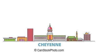 United States, Cheyenne line cityscape, flat vector. Travel city landmark, oultine illustration, line world icons