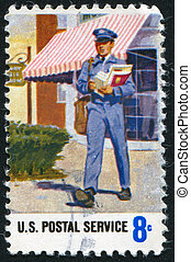 mailman - UNITED STATES - CIRCA 1973: stamp printed by...