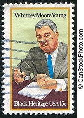 UNITED STATES - CIRCA 1981: stamp printed by United states, shows Whitney Moore Young, circa 1981