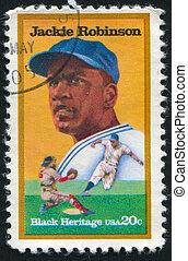 Jackie Robinson - UNITED STATES - CIRCA 1982: stamp printed...