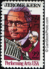 """UNITED STATES - CIRCA 1985: a stamp printed in USA depicting Kern & music, inscription """"Jerome Kern & Performing arts"""" , circa 1985"""